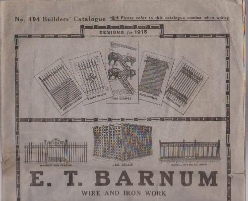 E.T. Barnum. Wire and Iron Work No. 494 Builders Catalog