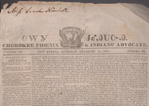 EXCESSIVELY RARE COPY OF THE CHEROKEE PHOENIX AND INDIAN ADVOCATE – DECEMBER 31, 1831. VOL. IV. NO. 25