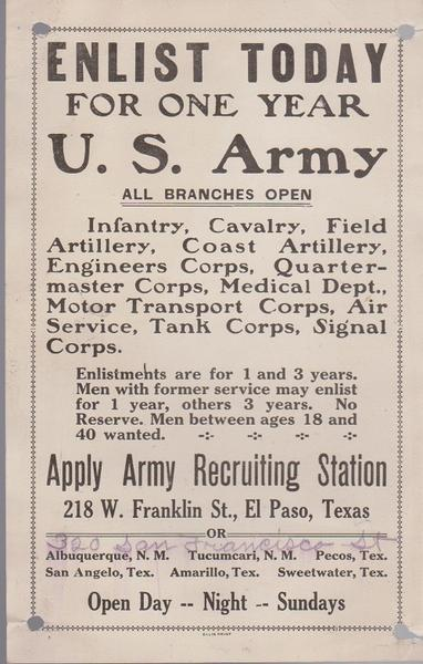 WWI Enlist Today Broadside