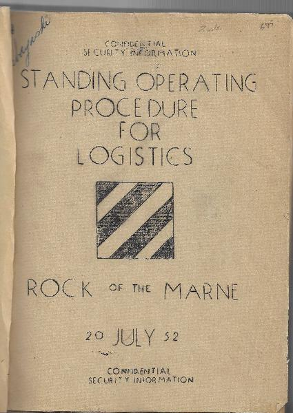 Korean War - Standing Operating Procedure for Logistics - 1952