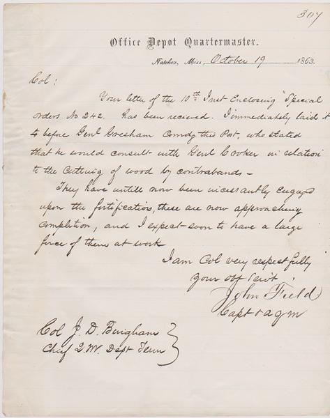 natchez mississippi civil war manuscript letter concerning black
