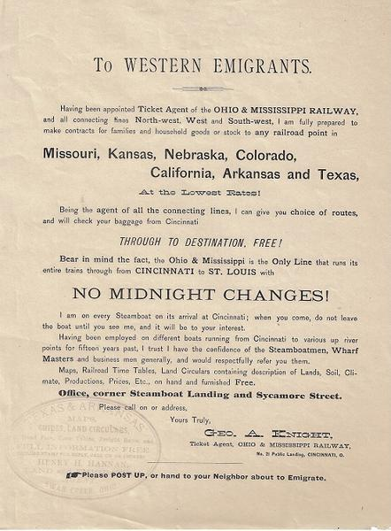 To Western Emigrants - Broadside - Ohio and Mississippi Railway
